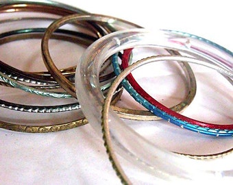 Boho Bracelets - Gypsy Bangle Stack  - 15 Various Pieces of Vintage Arm Candy.