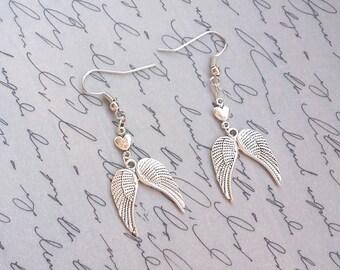 Silver Wing Earrings, Angel Wing Earrings, Angel Earrings, Silver Earrings, Winged Heart Earrings, Dangle Earrings, Handmade Jewelry