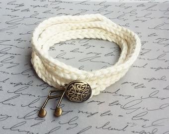 Wrap Bracelet, Music Note Charm Bracelet, Cotton Wrap Bracelet, Wrapped Bracelet, Music Jewelry, White Wrap Bracelet, Crochet Jewelry