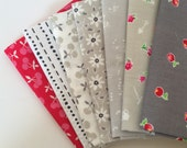 Grey and Red, 7 Fat Quarter Bundle, Lakehouse Dry Goods and Art Gallery Fabrics, Katarina Roccella and Francis Newcomb