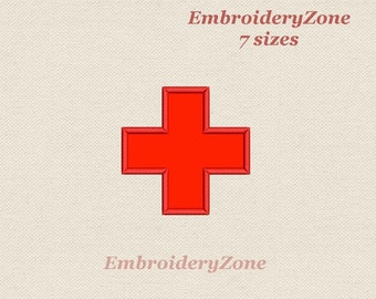 Medical red cross machine Embroidery design Applique Sign red cross medicine. 7 sizes Hoop 4x4 5x7 6x10. Instant download