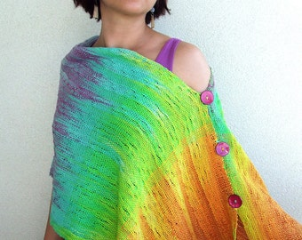 Hand woven hand dyed cotton scarf organic cotton textured cotton buttons rainbow scarf summer cape multicolor scarf womens scarves woven