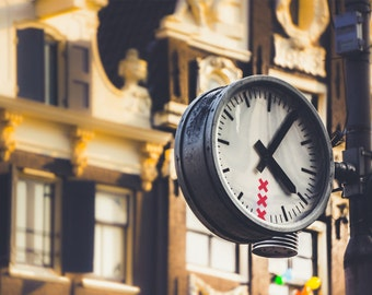 "Clock Wall Art - Amsterdam Clock - Amsterdam Architecture - Industrial - Amsterdam Photography - Red Light District - Warm Colours ""XXX"""