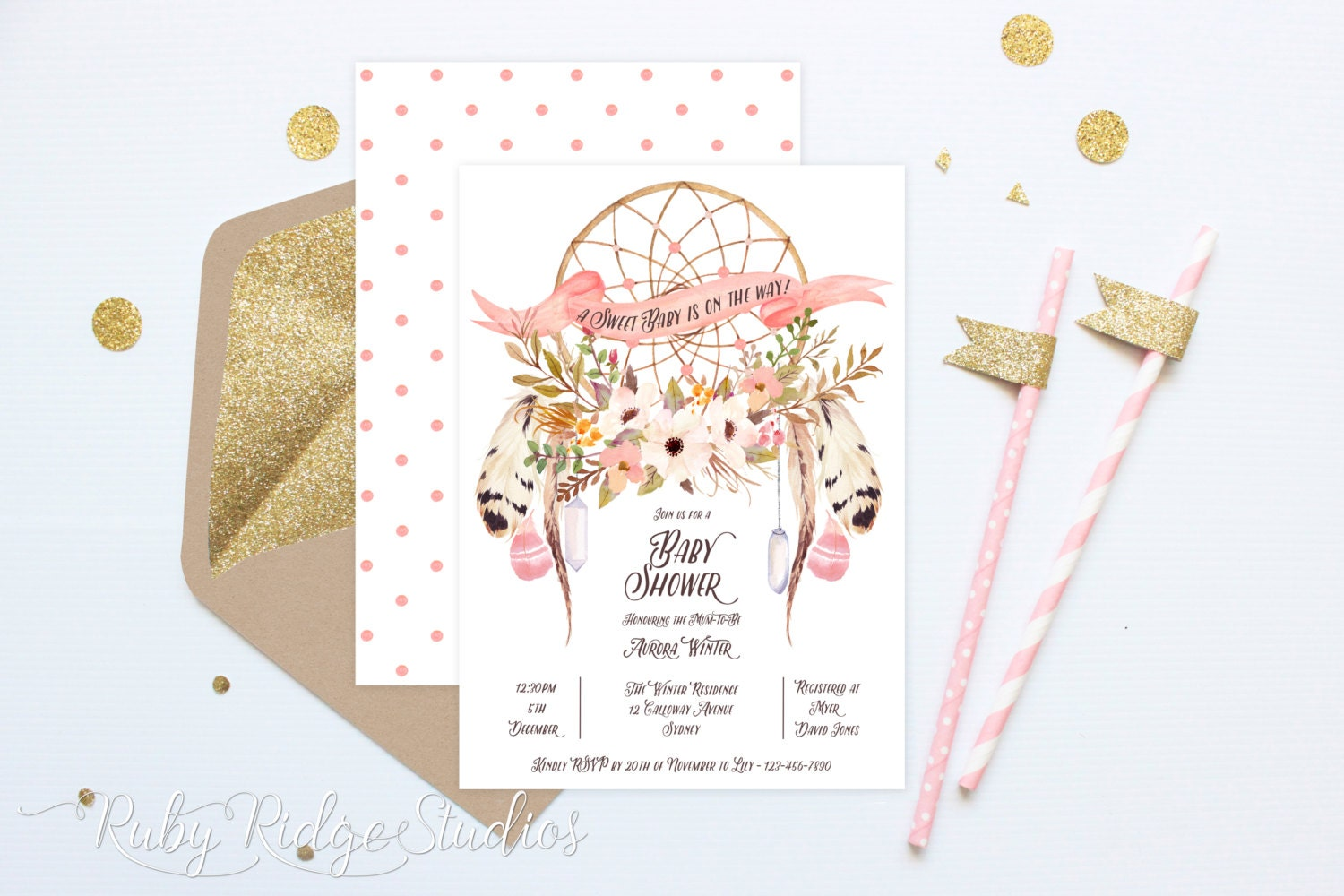 printable baby shower invitation bohemian by rubyridgestudios