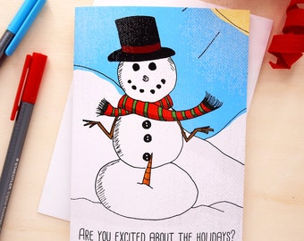Funny Christmas Card Xmas Card, Funny Holiday Card Snowman Christmas Card Christmas Cards Handmade Christmas Greeting Card Holiday Christmas