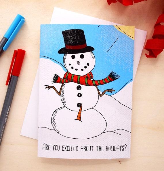 Funny Christmas Card Xmas Card Funny Holiday Card Snowman