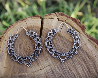 Silver earrings. Tribal earrings ethnic style. Boho earrings.