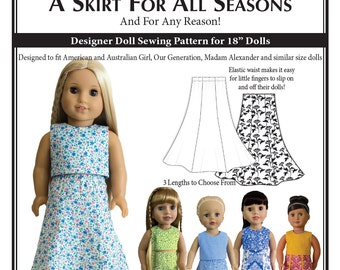 A Skirt for All Seasons – PDF Doll Skirt Sewing Pattern for 18 Inch Dolls
