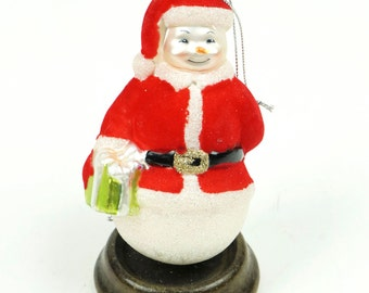 "4.5"" Snowman Santa Claus Christmas Ornament Glass Red White Color Small Miniature Ornament Christmass Blown Present Presents"