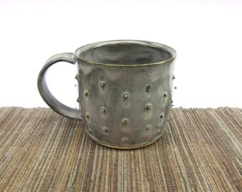 Ceramic Mug, Hand Made Ceramic Pottery Cup in Grey, Bumped Pottery Mug with Grey Glaze, Ceramic Coffee Cup, Small Mug, Ready to Ship