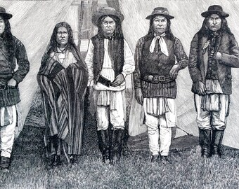 San Antonio Texas APACHE INDIANS SQUAWS Captive Apaches 1886 Antique Engraving  -  Professionally Matted Ready to Frame Frank Leslie's Print