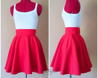 Red skater skirt, full circle skirt, high waisted, summer Clothes, lolita Gothic, knee length, wide waistband, pin up clothing, short skirt
