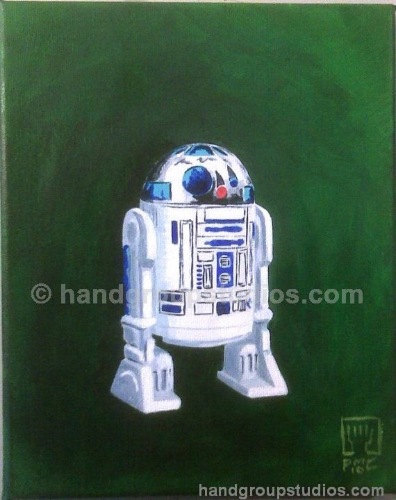 "Star Wars R2D2 Red Droid Toy Figure Painting ""Takes a Licking and Keeps on Clicking"" Original Artwork by Pete Coe"