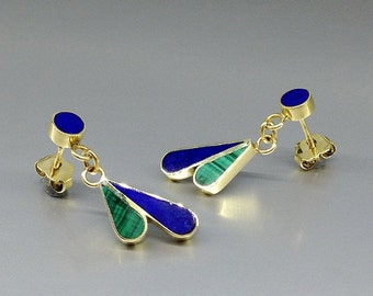 Playful dangling earrings with Lapis Lazuli, Malachite and 18K gold - gift idea - long elegant earrings - solid gold - blue and green stone