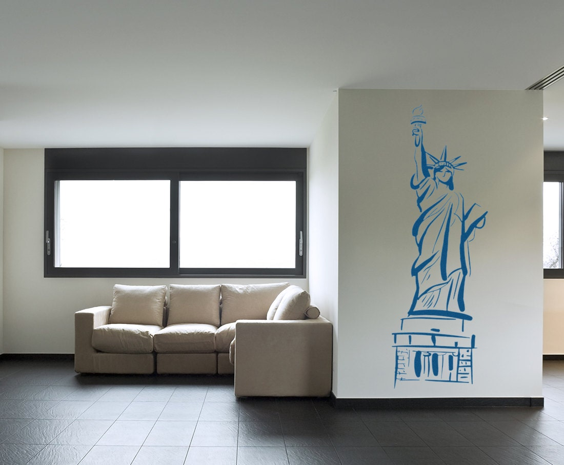 Statue Of Liberty Wall Sticker Stylized Statue Of Liberty Vinyl Decal United States Landmark