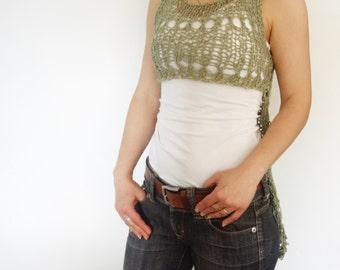 PDF Pattern - Tuxedo Loose Knit Camisole/Cropped Tank Top/ Asymmetrical Summer Cotton Vest/Longer Back Shorter Front Trendy Knitwear