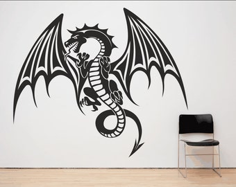 Mythical Fire Breathing Flying Dragon Wall Sticker Decal.(*68)