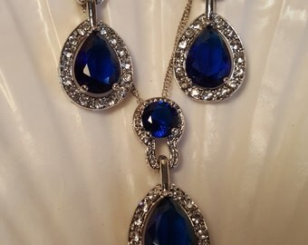 Cobalt Blue Zircon Necklace Set / bridesmaids gifts / bridal jewelry / wedding jewelry