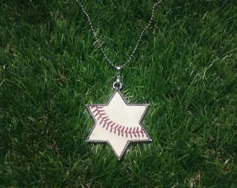 Baseball Star of David Necklace