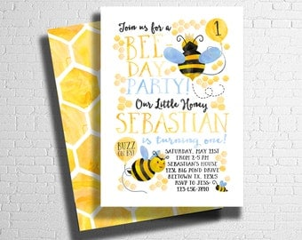 Bee Birthday Invitation | Our little Honey | Bee-Day Invitation | Bumble Bee Birthday Invitation |  DIGITAL FILE ONLY