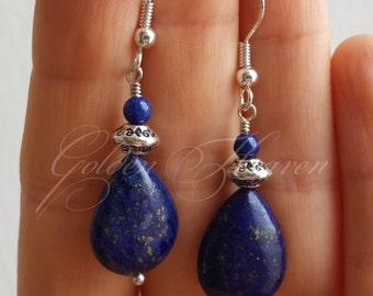 Lapis Lazuli Earrings 925 Sterling Silver Hook dark blue Drop Teardrop Beautiful