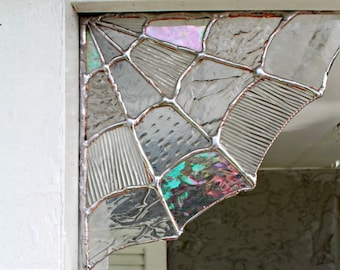 Stained Glass Spider Web Corner,Home decor, Garden decor,spider web decor, halloween decor, stained glass,garden, corners, magical, unique
