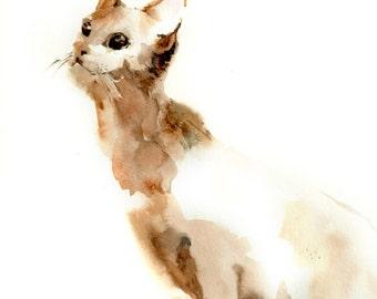 Cat Watercolor Print, Curious Cat, Watercolor Painting Art Print, Cat Wall Art