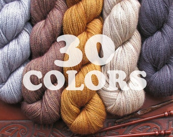 Alpaca Silk Lace Yarn ON SALE. Anne is Hand Dyed in USA Super Soft Premium Quality. No Knots, No Frays. 2 Sizes 30 Colors