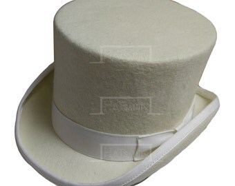 VINTAGE Wool Felt Formal Tuxedo Topper Top Hat - Ivory