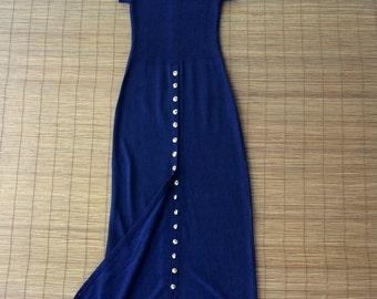 Vintage 1980s St. John Knits Midnight Blue Maxi Dress / Brass Buttons / Made by St. John / Navy Blue