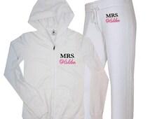 Personalized MRS. Sweatsuit, Mrs. Jacket and Pants, Mrs. Sweatshirt, Mrs. Lounge, mrs french terry hoody set, bridal french terry hoody set