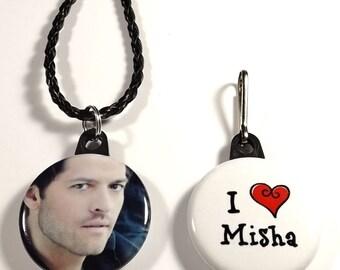"""Misha Collins 1.25"""" Button Necklace & Zipper Pull Set"""