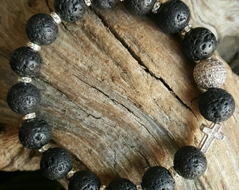 Lava Rock Beaded Stretch Bracelet with Micro Pave Bead & Pave Cross Bead  *FREE SHIPPING*