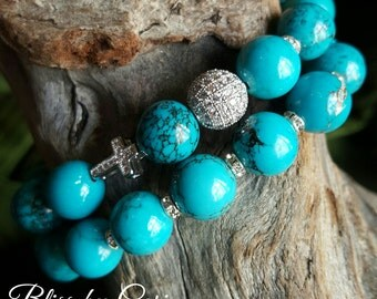 Turquoise Beaded Stretch Bracelet Duo with Micro Pave Beads *FREE SHIPPING*