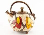 Autumn ceramic teapot, pottery tea pots, ceramics and pottery, Tea Set, Christmas Gift Birthday Gift, Handmade Ceramics Pottery metallic art