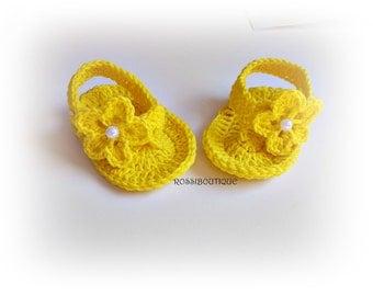 Yellow flip flops, Baby Flip Flops, Crochet Baby Sandals, Crochet Baby Flip Flops, Summer Baby Shoes, Crochet Baby Sandles, Girl Sandles