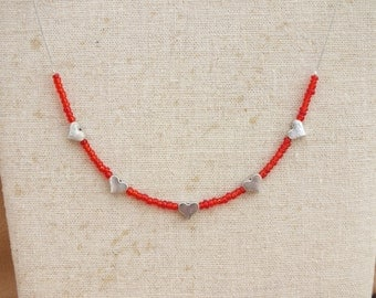 Red and silver heart necklace, love necklace