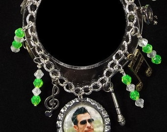 Danny Wood of NKOTB Inspired Charm Bracelet With 9 Charms & Beads - Makes A Great Gift Item