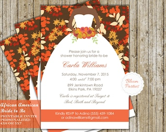 African American Bridal Shower Invitation - Fall Bridal Shower Invites Fall Wedding Shower Fall in Love Invitation Digital Printable DIY