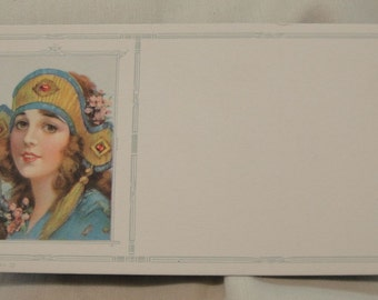 Glamorous Lady in A Headdress, Blotter Sample, 1940's, Ad Samples Art