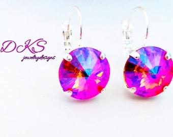 TROPICAL TANGERINE SHIMMER, swarovski earrings, lever backs, 12mm, rhodium, designer inspired,dangles, drops. dksjewelrydesigns