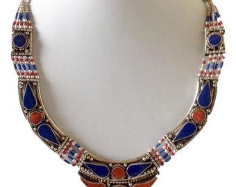 Elegant Lapis Lazuli Coral Tibetan/Nepali Necklace