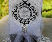 Elegant Wedding Card, OOAK, Wedding Card, Black & White Wedding Card