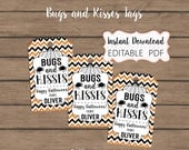 INSTANT DOWNLOAD - Bugs and Kisses - Halloween Gift Tags - Editable PDF - Spiders, Candy Kisses - School Halloween Tags