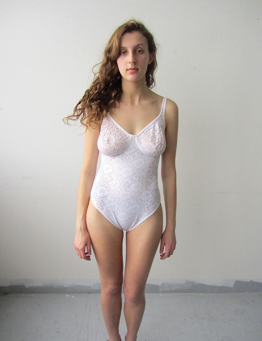 Semi Sheer Vintage White Lace Bodysuit