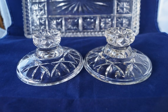 Vintage Glass Art Deco Candle Holder: A Pair Of Vintage Clear Glass Art Deco Candle Holders. These