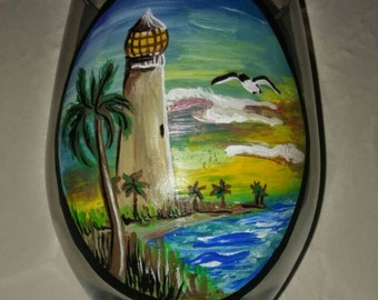 Lighthouse Hand Painted Wine Glass