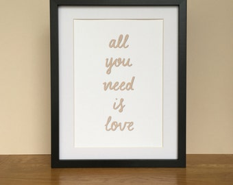 Love quote personalised poster print - all you need is love - love quote wedding - love quote anniversary - love quote poster gift