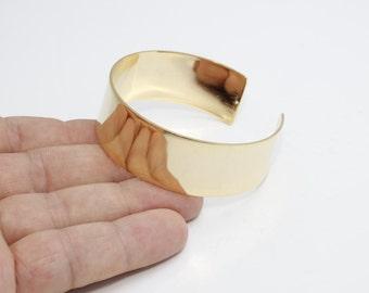 20mm 24k Shiny Gold Plated Cuff Bracelet,  Handmade Gold Cuff Bracelet Bangle , Gold Cuff Bracelet Blank - Gold cuff , CHK52