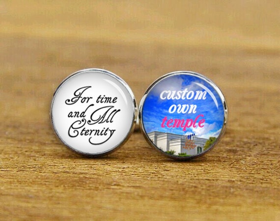 for time and all eternity cufflinks, custom personalized cuff links, LDS mormons weddings, handmade wedding cuff links, choose u own temple